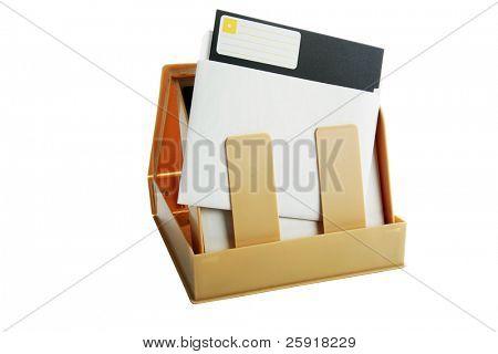 5,25 Disco de disquete de e caso isolado no branco com espaço para seu texto ou imagens