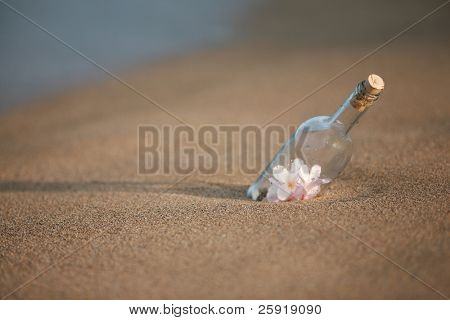 """""""message in a bottle"""" in the sand  filled with plumeria flowers"""