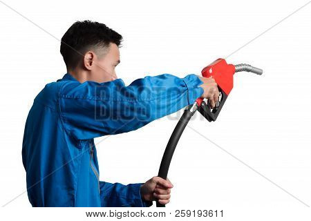 poster of Oil Engineer Man Holding Fuel Oil Nozzle For Oil System Gasohol 91.