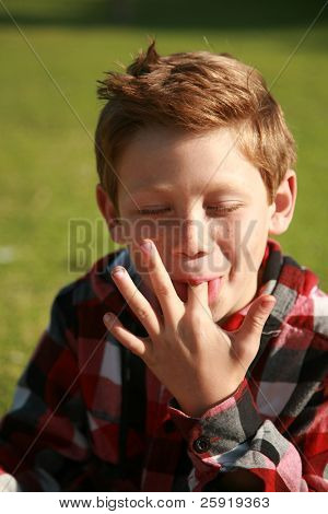 a young boy licks his fingers after eating lunch at a picnic