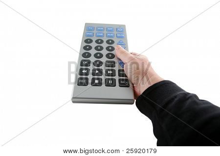 a hand holds a giant tv remote control isolated on white with room for your text or images