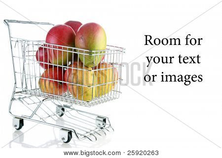 Mango's in a shopping cart on white with reflections and room for your text or images