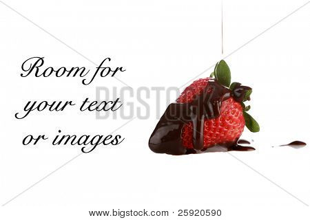 juicy red ripe strawberry with chocolate sauce Isolated on white with room for your text or images text is easily removed and replaced with your own