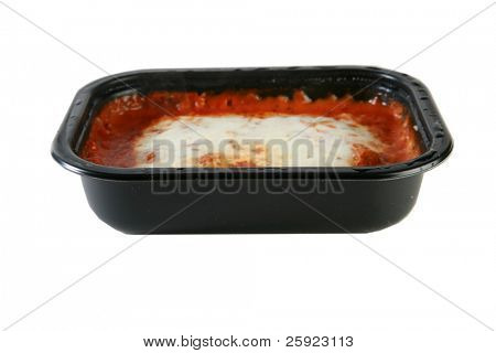 Lasagna tv dinner, isolated on white