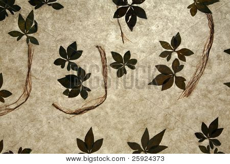 backgrounds and wallpapers of handmade rice paper with organic plant leafs and fibers infused in between the fibers