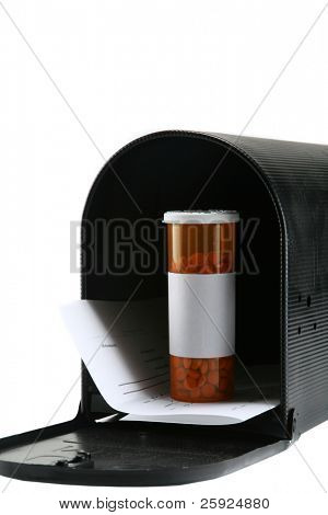 prescriptions by mail, a pill bottle full of medications aka pills in a mail box isolated on white with room for your text