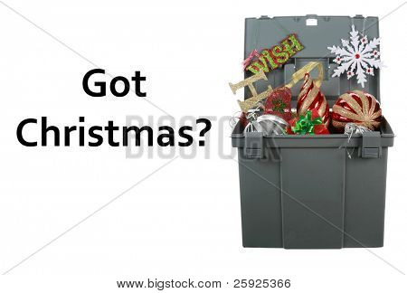 a grey plastic storage box jam packed with colorful christmas ornaments isolated on white with room for your text