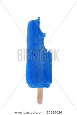 Popsicle with bites taked out of it, isolated on white