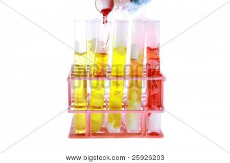 Chemical research, chemical reaction. isolated on white with room for your text