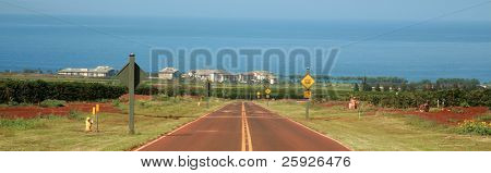 a road on maui leading down the mountian to the pacific ocean on the west side of the island