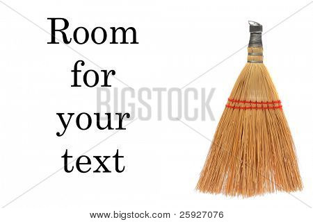 wisk broom, isolated on white with room for your text