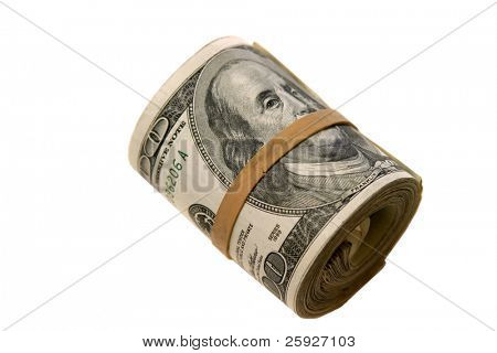 "a ""bank roll"" of $100.00 bills isolated on white, with room for your text"