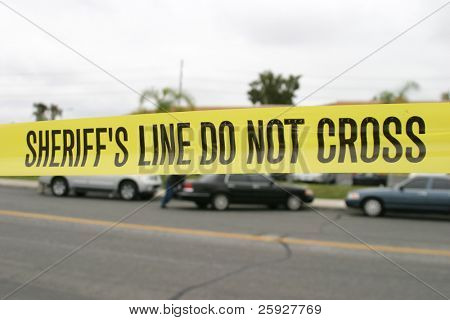 "Genuine ""Sheriff's Line Do Not Cross"" caution tape collected from the scene of a murder."