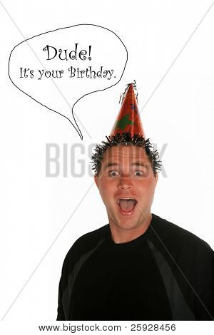 a young man celebrates a birthday, anniversary, holiday or any party at all. shot with a Fisheye lens for a fun distorted view. isolated on white with room for your text