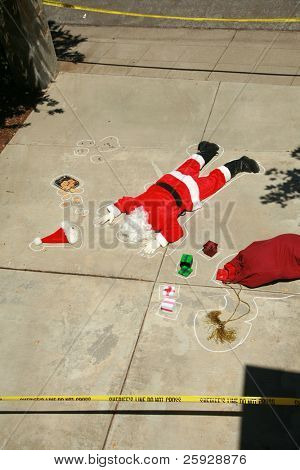 Dark Humor Series. Santa Claus shot dead in a