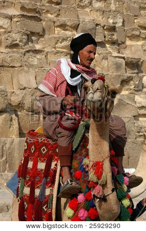 Egyptian cameleer at his camel in front of the Great Pyramid in Giza near Cairo, Egypt