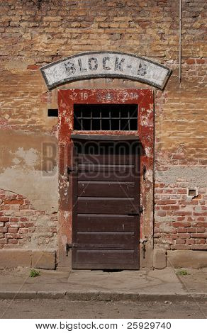 Closed door of a barrack of a nazi police prison in Terezin, Czech Republic.