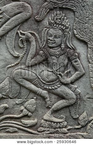 Apsara dancer from Bayon Temple in the Angkor Area near Siem Reap, Cambodia.