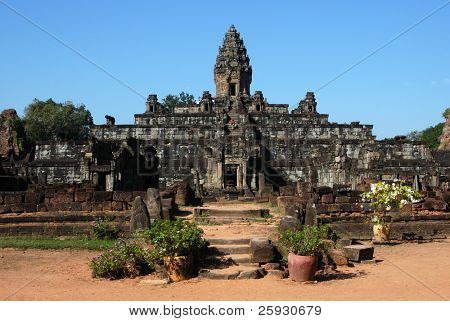 Bakong Temple in Roluos Village, the Angkor Area near Siem Reap, Cambodia.