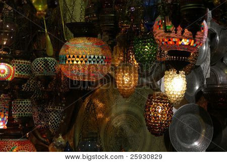 Turkish lanterns on the Grand Bazaar in Istanbul, Turkey