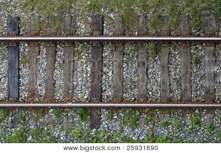Frontal view of a section of an old railroad