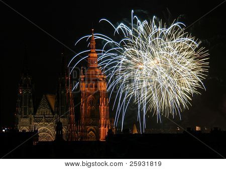 Fireworks illuminate the sky over St Vitus Cathedral at the Prague Castle, Czech Republic, to celebrate the New Year