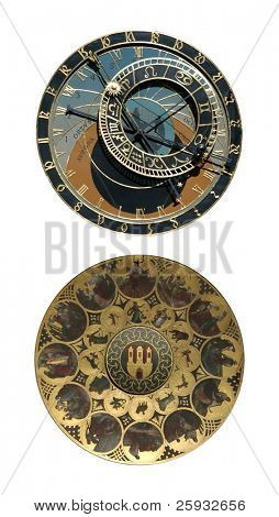 Famous medieval astronomical clock in Prague, Czech Republic, isolated on white