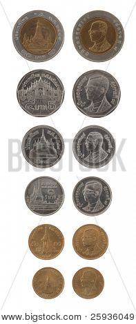 Set of Thai Bath coins isolated on white