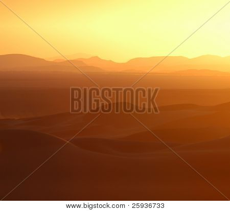 Sunset over the sand dunes of Erg Chebbi in the Sahara Desert near Merzouga, Morocco.