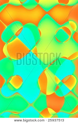 Abstract background, red, orange, green and blue.