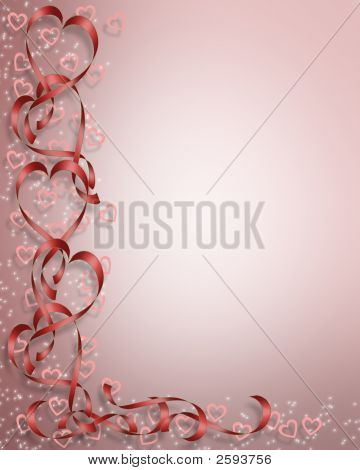 Valentine Heart Ribbons Red