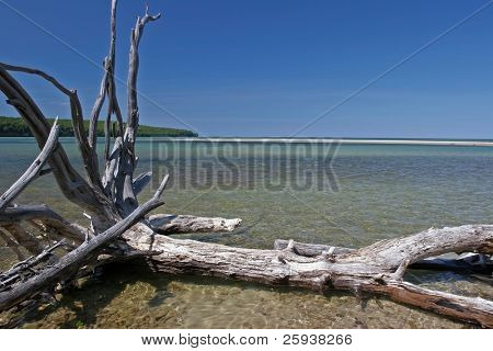 Beautiful landscape at sunny day. Lake Superior North Peninsula.