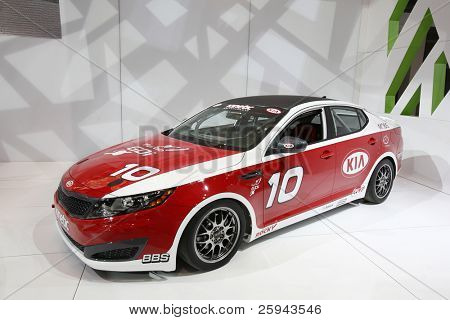 CHICAGO - FEBRUARY 15: The KIA race car presentation at the Annual Chicago Auto Show on February 15, 2011 in Chicago, IL.
