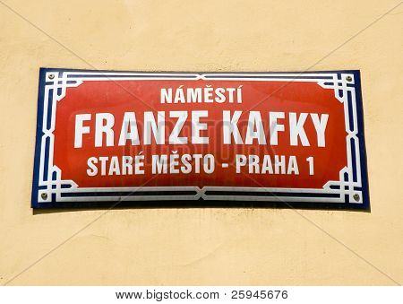 Square of Franz Kafka. Sign in Prague