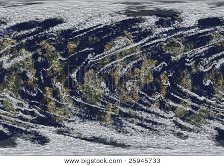Detail illustration of continents. Earth from above with clouds, land and ocean. Map texture