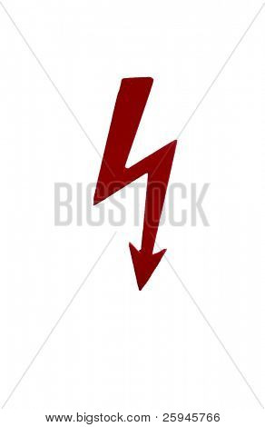 Electricity danger sign. Red lightning isolated on white.