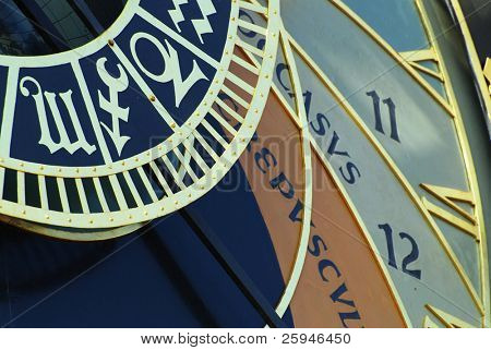Detail of astronomical clock in Prague, Czech republic