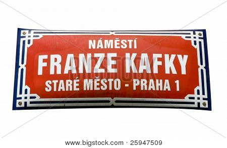 Square of Franz Kafka. Sign in Prague isolated on white