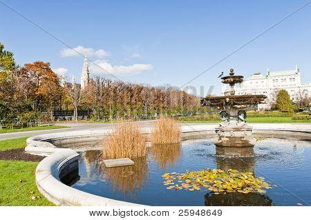 Beautiful fountain in the park in Wien. Autumn, Austria