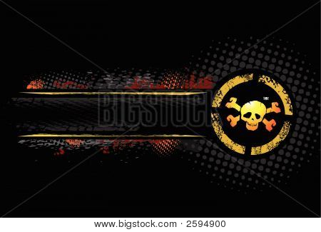 Grunge Skull With Text Banner