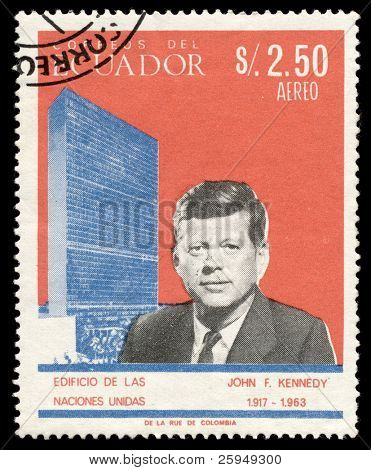 John F. Kennedy on a stamp from Ecuador from year 1966