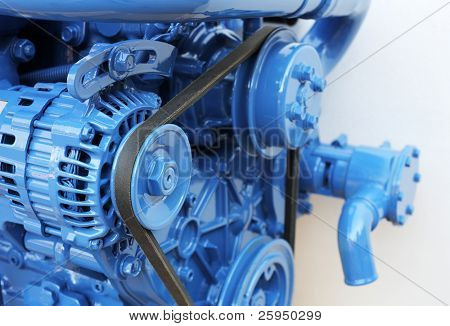 Brand new 60hp marine diesel engine. Short depth-of-field.