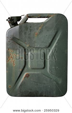 Green jerrycan isolated on white