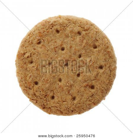 "A ""digestive"" biscuit isolated on white"