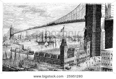 """Brooklyn Bridge in New York. Abbildung ursprünglich veröffentlicht in Hessen Wartegg """"Nord Amerika"""", sw"""