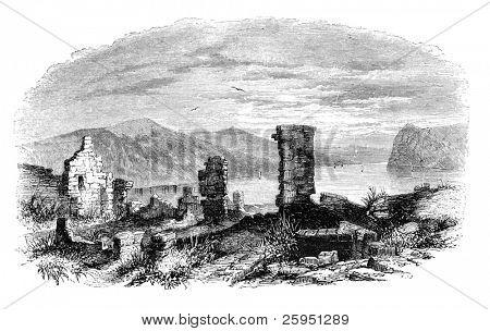 Ruins of Ticonderoga at lake Champlain. Illustration originally published in Hesse-Wartegg's