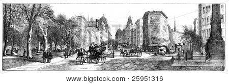 Madison Square, New York. Illustration originally published in Hesse-Wartegg's