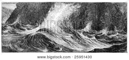 "Niagara Whirlpool rapids. Illustration originally published in Hesse-Wartegg's ""Nord Amerika"", swedish edition published in 1880. The image is currently in public domain by the virtue of age."