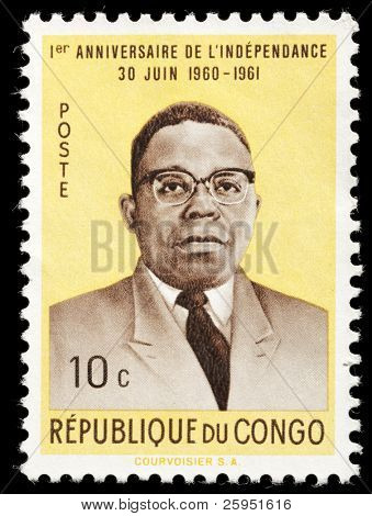CONGO - CIRCA 1961:Stamp printed by Congo shows commemorative stamp celebrating the first year of independence. President Joseph Kasa-Vubu circa 1961