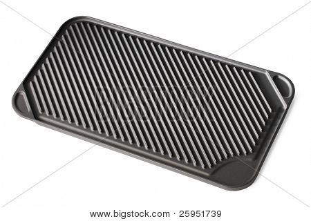 Stovetop grill pan with non-stick ceramic surface isolated on white with natural shadows.